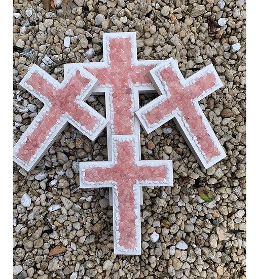 Pink quartz cross  - small