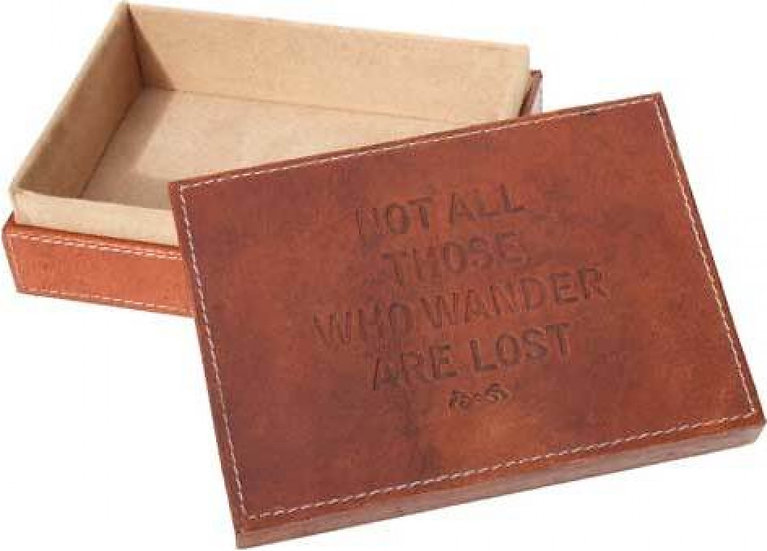 Leather storage box - Not All Those Who Wander