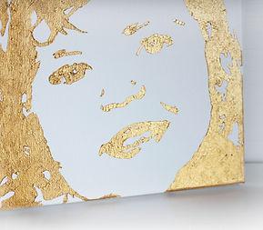 Portrait auf Leinwand malen in Gold