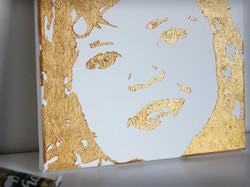 Pop-art vom Foto in Gold metallic