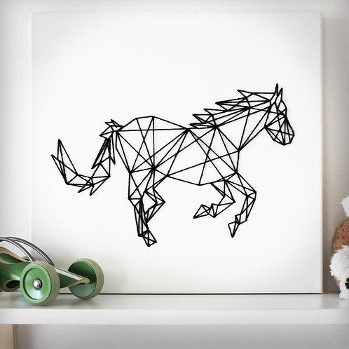 String Art - Pferd auf Leinwand