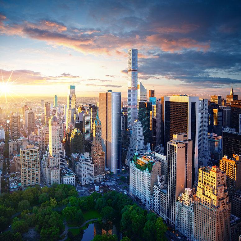 New York City Central Park at sunrise. N