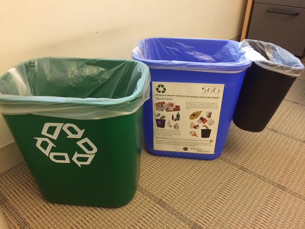 Having 3 containers for compost, recycling, and trash are essential for waste management
