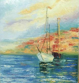 картина маслом яхта