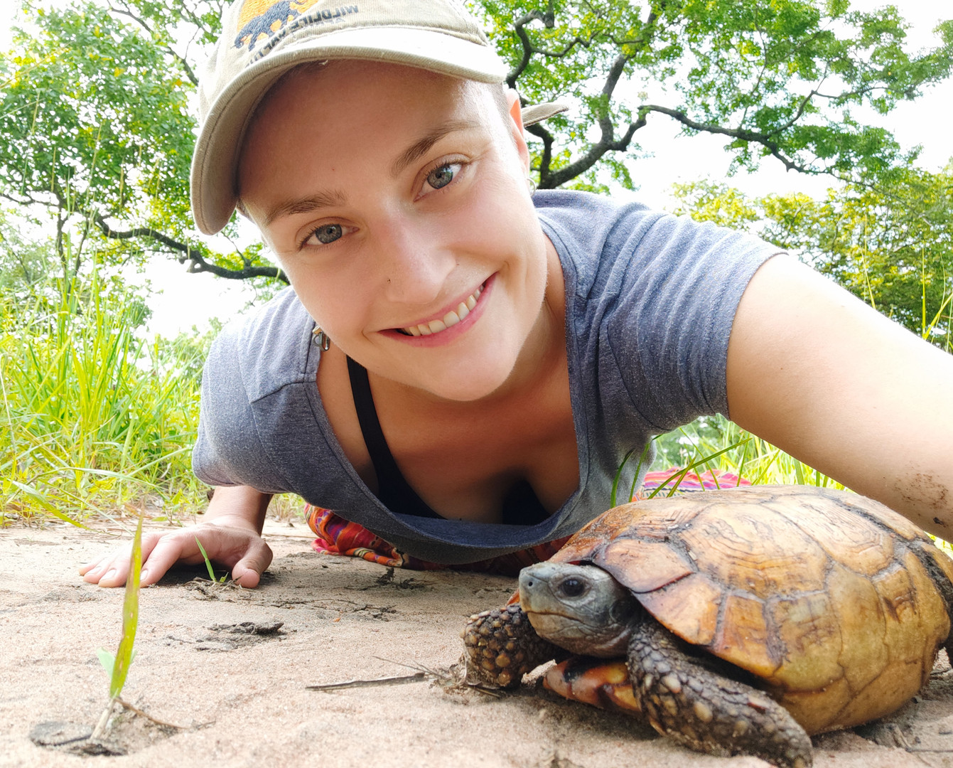 Dr Hezy Anholt with a hinged-back tortoise