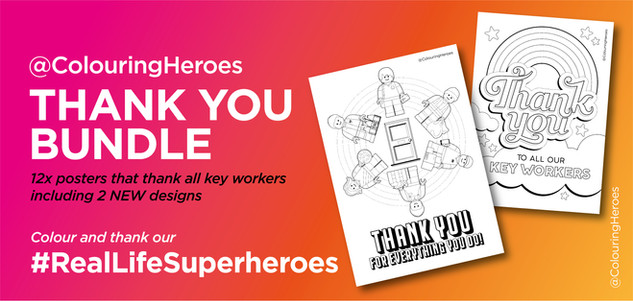 12 A4 sheets that can be coloured to thank all keyworkers.