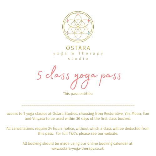 5 class Yoga pass