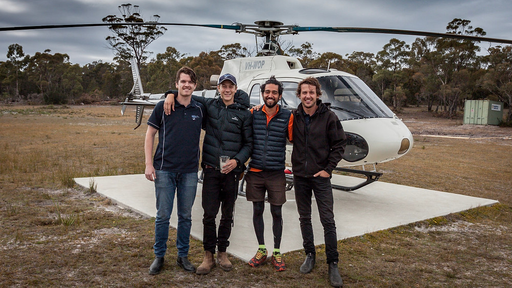 Pascal, Churchy, myself and Bennie with Jacky Boy the choppper at Freycinet Air Scenic Flights