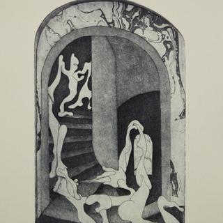 Alien Nude Decending a Staircase