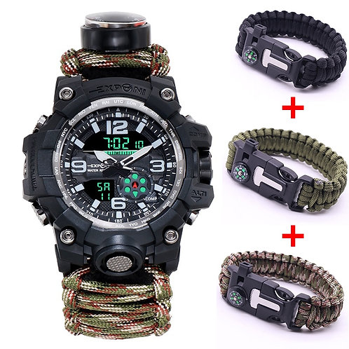 Military Sports Watches Mens  Compass Survival Essential 50M Waterproof Quartz