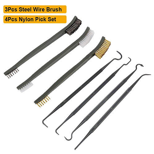 7Pcs Gun Cleaning Kit Double Ended Steel Wire Brass Nylon Brush  Cleaning Pick