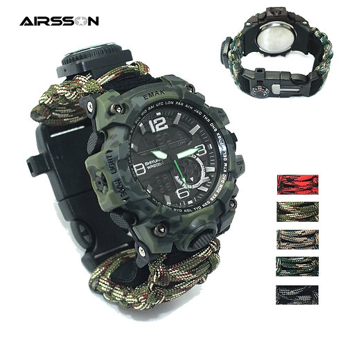 Outdoor Survival Watch  Rescue Paracord Bracelet Multi Compass Thermomter