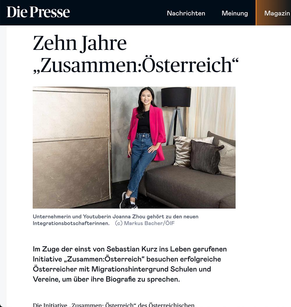 Joanna Zhou Die Presse Integrationsbotschafterin Maqaroon Zusammen Österreich