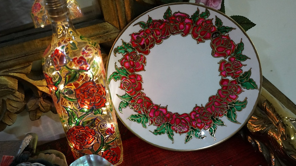 Home Decor Wall Plate + Bottle Lantern Hand Painted