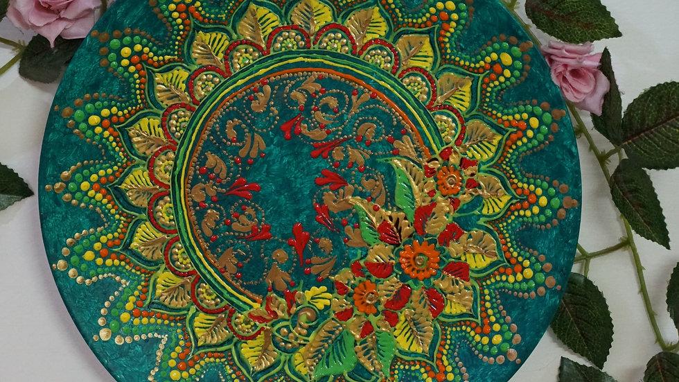 Home Décor Wall Plate -Hand Painted Mandala Art