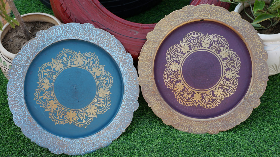 Embossed & Hand Painted Antique Charger Plates