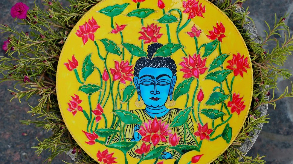 Buddha Art Wall Plate with Mandala Design