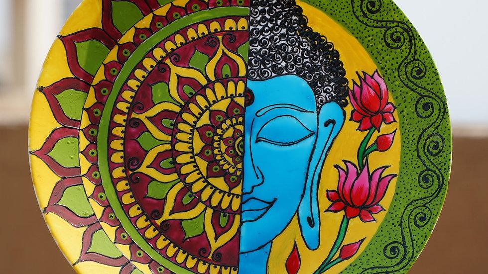 Buddha Art Wall Plate with Mandala Design