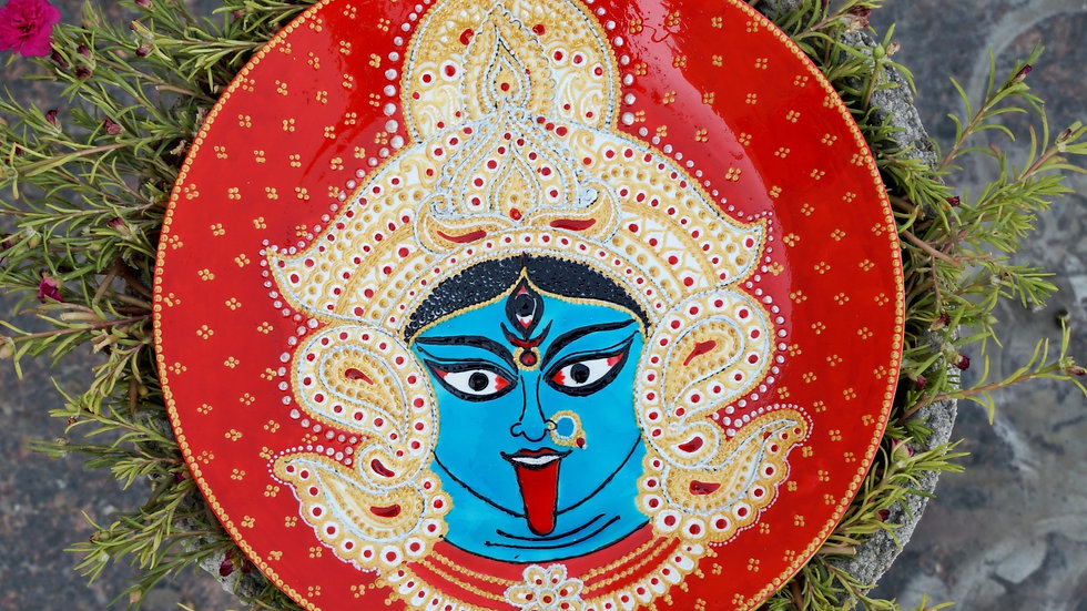 Maa Kali Wall Plate with Meenakari Art