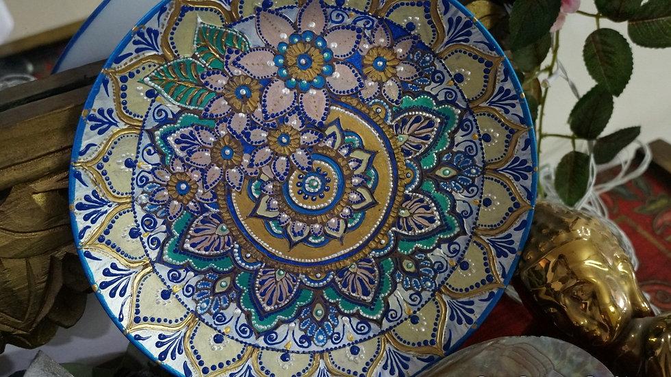 Home Decor Wall Plate -Hand Painted Mandala Art