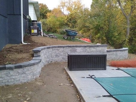 Custom Retaining Wall Installation Around Inground Pool.
