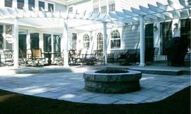 Stone fire place + Pavers + Custom + Stone Patio