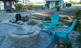 Custom Fire place + Stone work + Patio + Curb appeal + Back deck