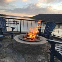 Custom gas fire place + Finger lake + Seneca + Keuka + Cayuga + Fire place + Outdoor fire place + Stone fire place