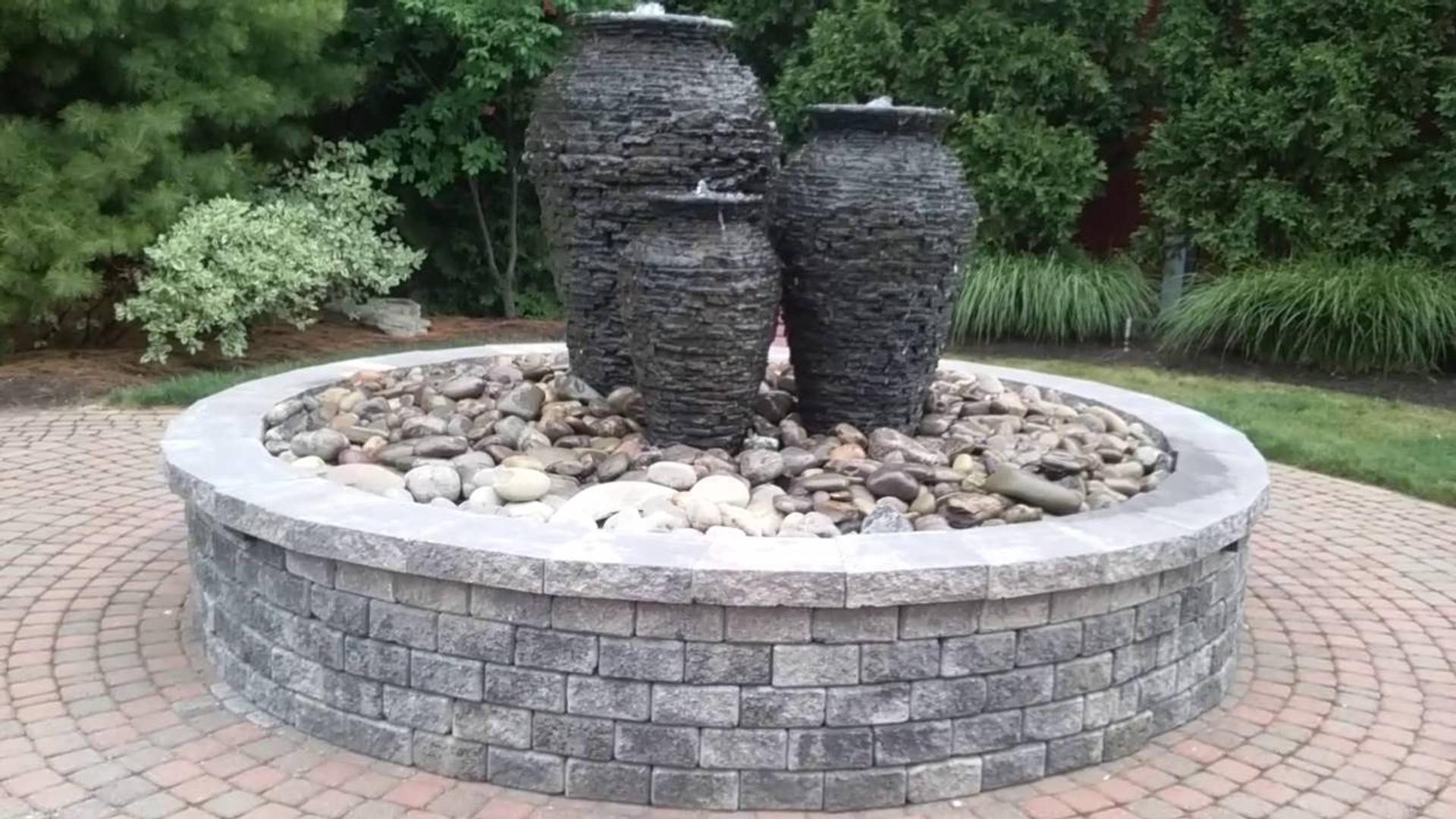 Three Urn water feature in Corning, NY by Preferred Landscaping