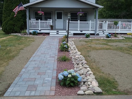 New Composite Deck With Landscaping and Pavers.