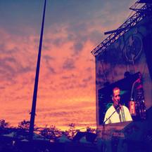 Sunset behind Ben Harper