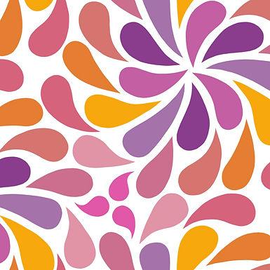 In a Spin - orange, purple, white