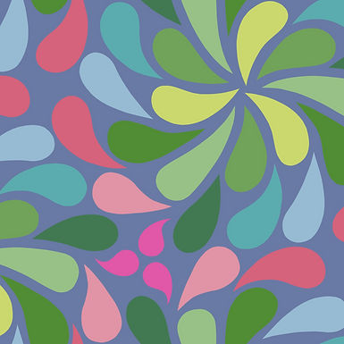 In a Spin - green, blue, pink