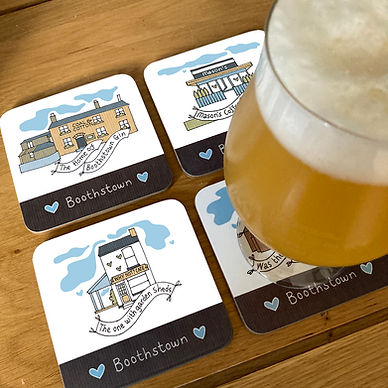 Boothstown PUBS coasters and a glass vis