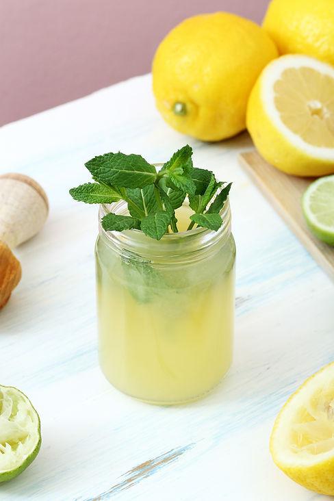 lemon juice in a glass mason jar_