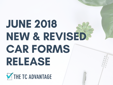 June 2018 - New & Updated C.A.R. Forms