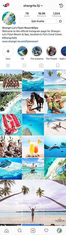 Shngri-La Fiji Instagram Account Content
