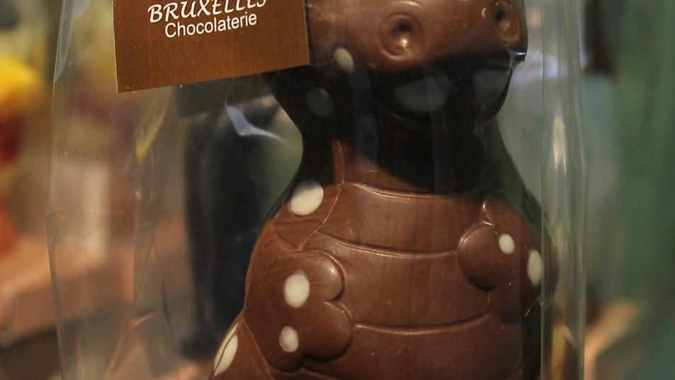 Dragón feroz, hecho en Chocolate de leche 43% de cacao, blanco, semibitter y pintado.