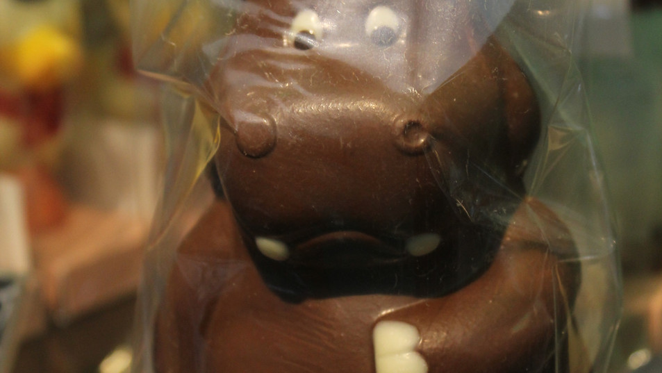 Hipopótamo hecho en chocolate de leche al 43%, con toques en semi bitter al 56 % y chocolate blanco.