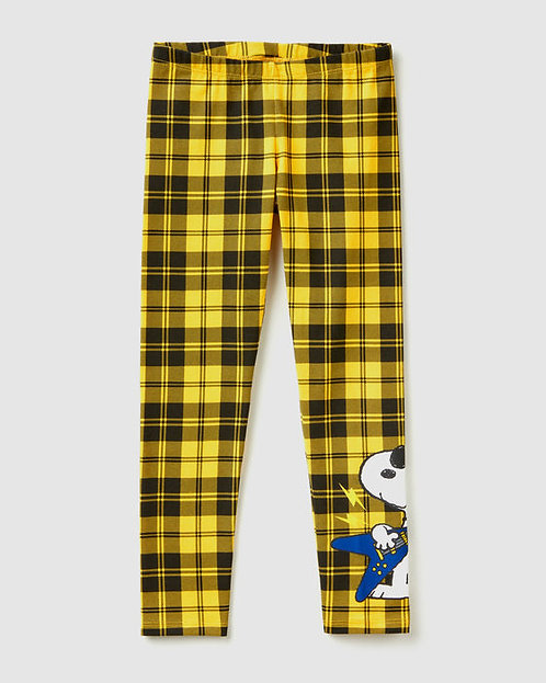 "Leggings de cuadros con estampado de ""Snoopy"""
