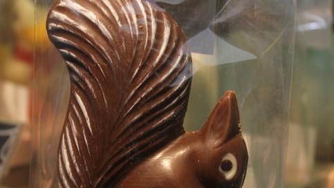 Ardilla hecha en chocolate de leche al 43% de cacao, con cola jaspeada.
