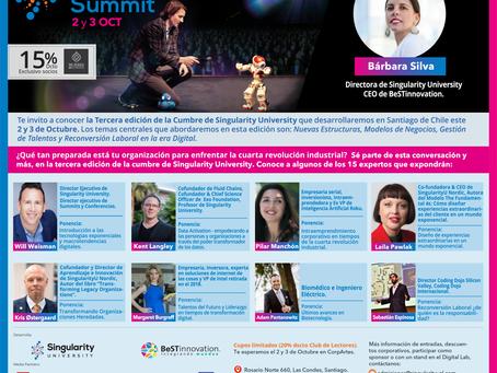 15% descuento en entrada a la Cumbre  de innovación y tecnología  en Chile de Singularity University