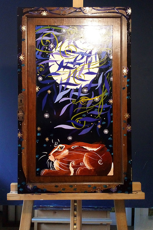 Wary Hare in the Midnight Air, ORIGINAL Upcycle Painting