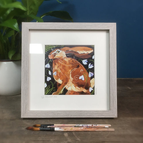 Snowdrop Hare, framed boxed print
