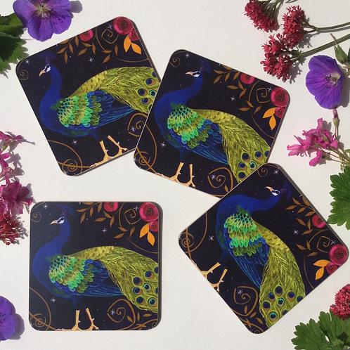 Set of 4 Peacocky Peacock Coasters