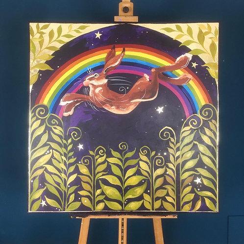 Rainbow Hare, ORIGINAL acrylic on canvas