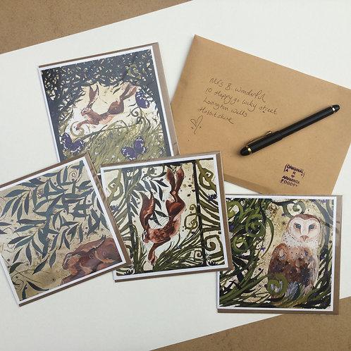 Greetings cards, pack of 4