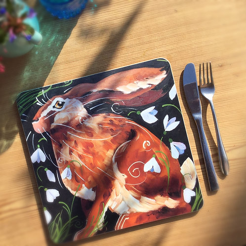 Snowdrop Hare Table/placemat