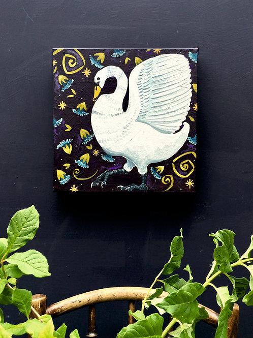 Sapphire Swan, ORIGINAL canvas