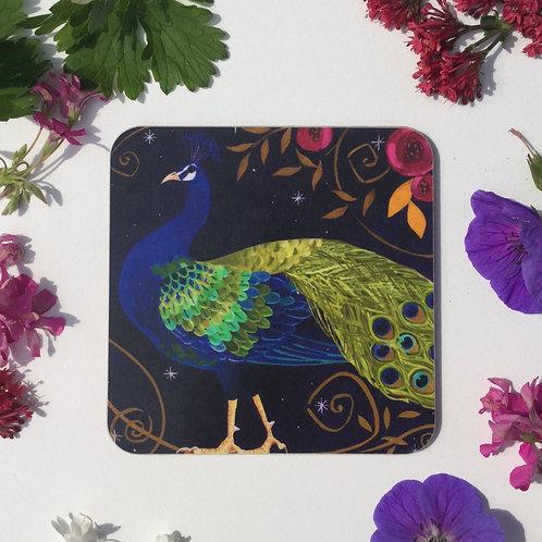 Peacocky Peacock Coaster